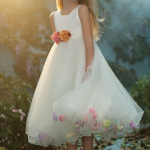 Flower Girl Dress With Netted Flowers