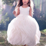 White Blooming Flower Girl Dress