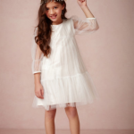 White Shift Flower Girl Dress With Sheer Sleeves