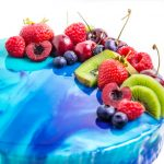 Blue Cake With Mirror Glaze And Fruit
