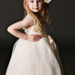 White Tulle Flower Girl Dress With Pink Sash