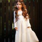 Long Sleeved Hippie Flower Girl Dress
