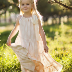 Pink Polka Dot Flower Girl Dress with Bow