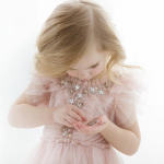 Pink Flower Girl Dress With Tulle And Stars