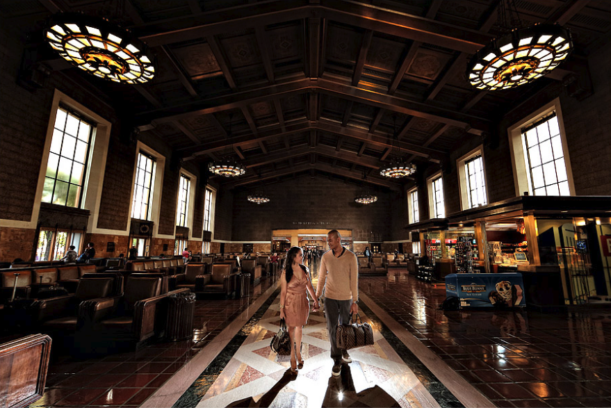 engagement photo at union station - top engagement photo locations in los angeles