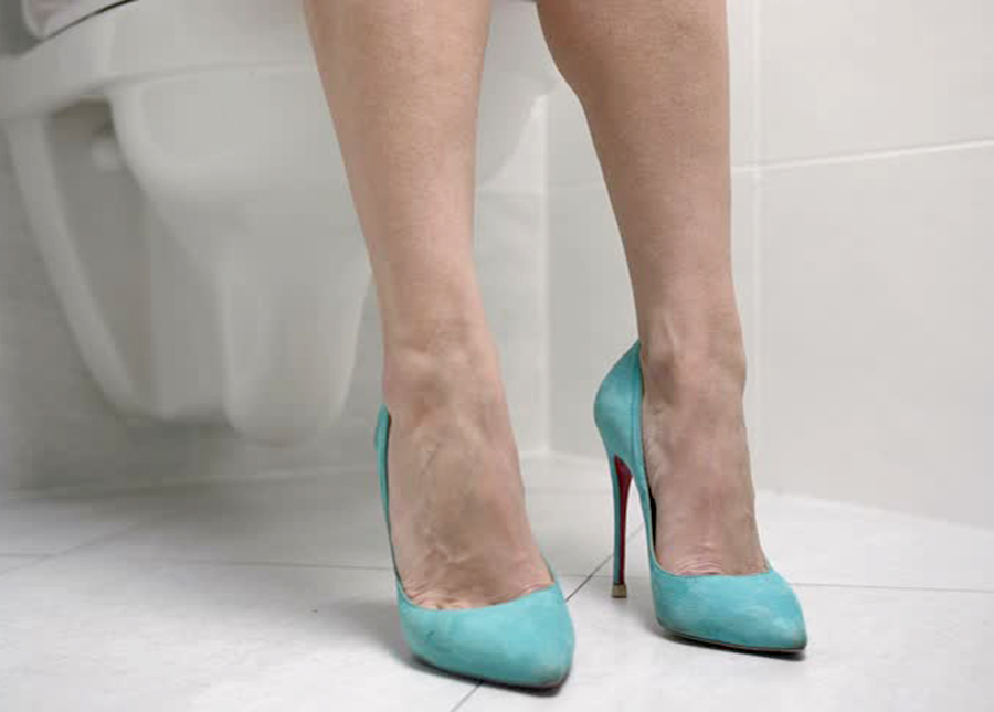 Embarrassing Bridal Questions - Woman Sitting On Toilet Heels Only