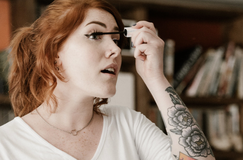 Wedding Makeup - Redheaded Woman Applying Mascara