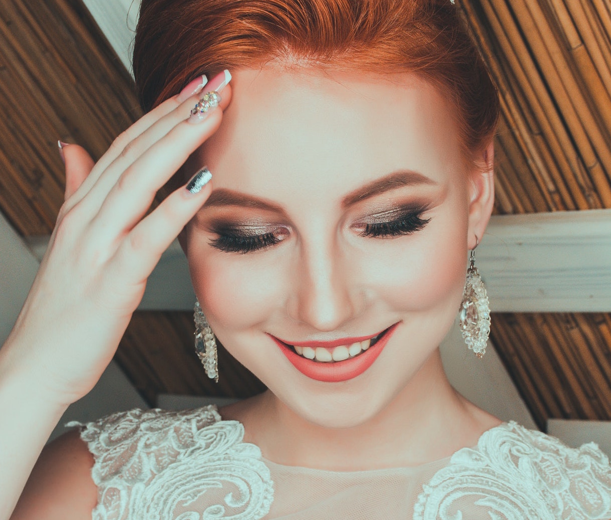 Wedding Makeup - Redheaded Bride With Manicure