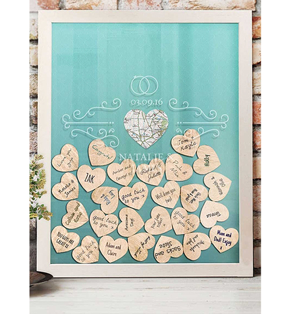 Wedding Guest Book Ideas - Wedding Guest Book Shadow Box With Wooden Hearts