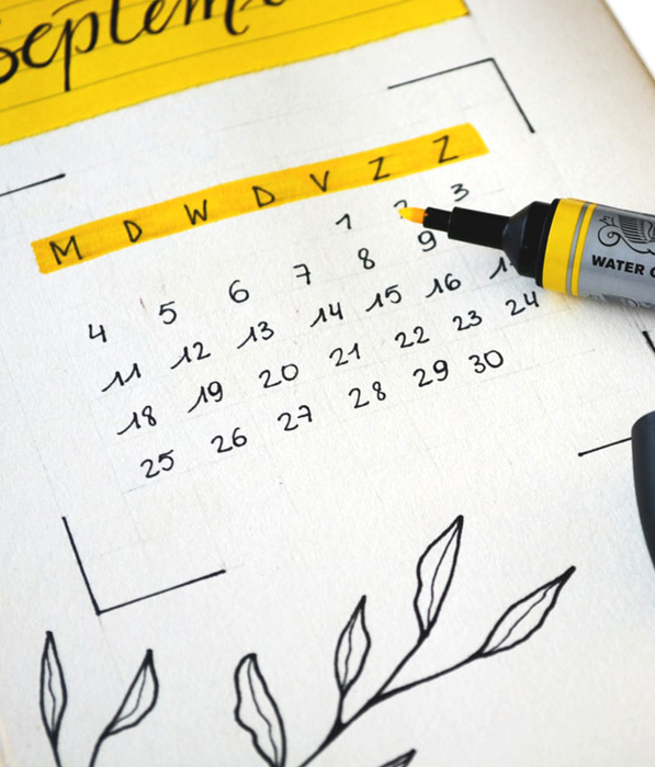 Calendar for September With Yellow Highlighter
