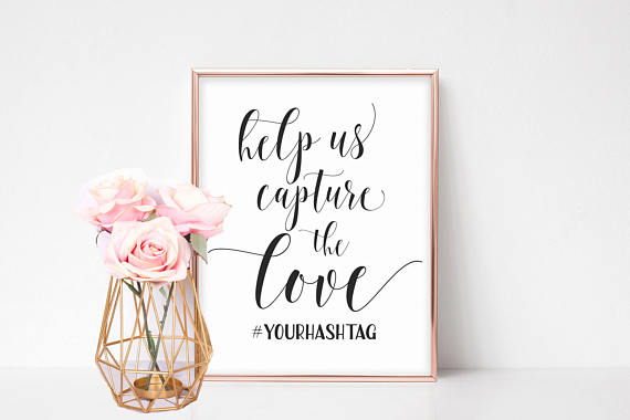 Wedding Hashtag Template With Pink Flowers