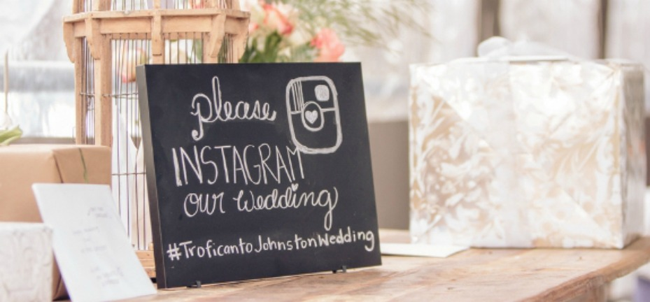 Wedding Hashtag Sign On Gift Table