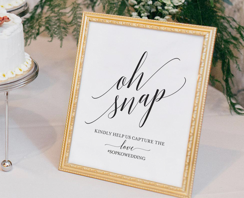 Wedding Signs - Oh Snap Hashtag Sign In Gold Frame
