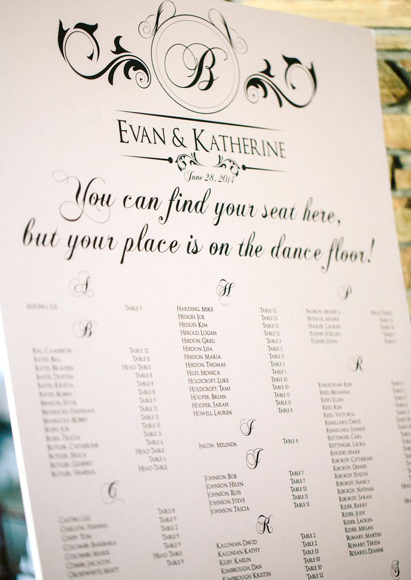Wedding Signs - Seating Chart For Wedding Reception