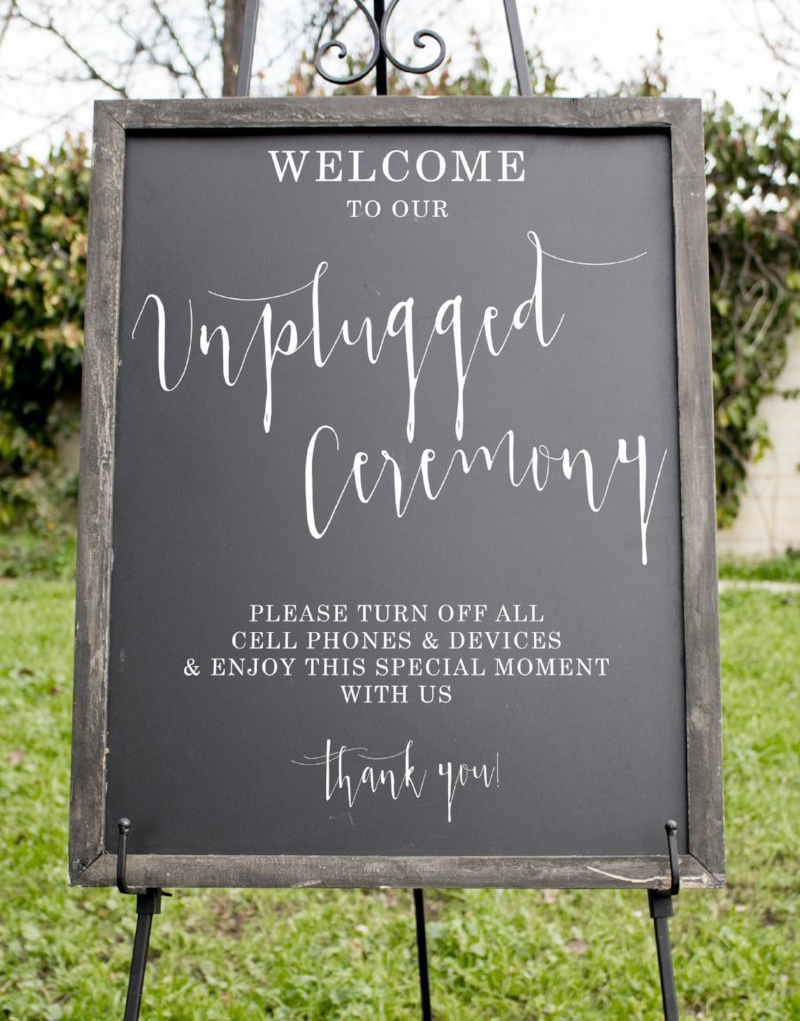 Wedding Signs - Chalkboard Unplugged Ceremony Sign
