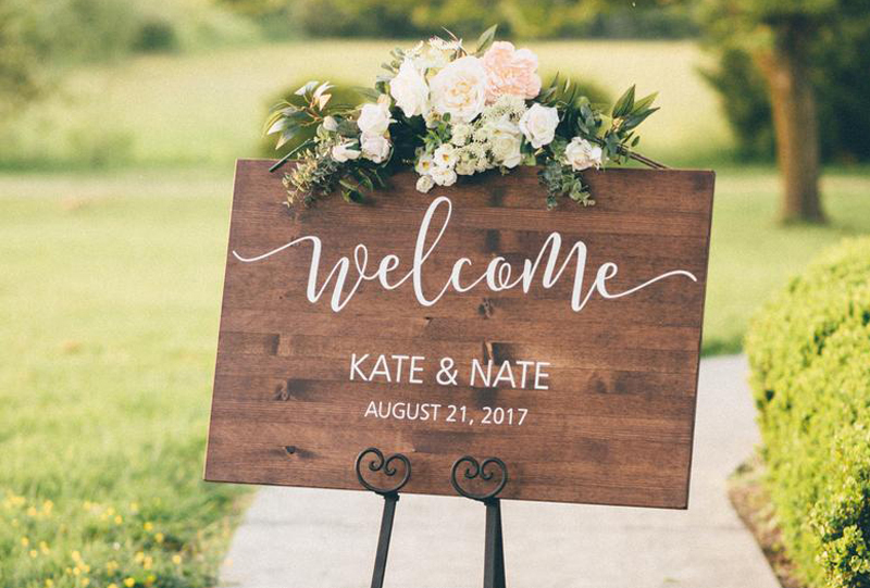 Wedding Signs - Wooden Wedding Welcome Sign With Flowers