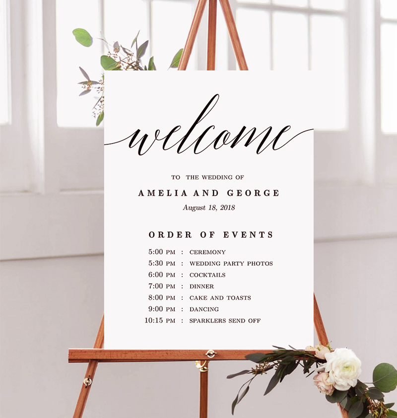 Wedding Signs - Welcome Wedding Sign With Program