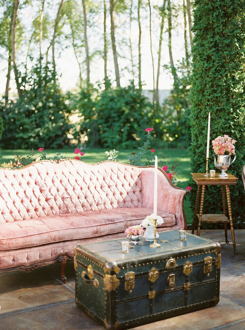 Granny Chic Wedding - Pink Velvet Couch And Trunk Table