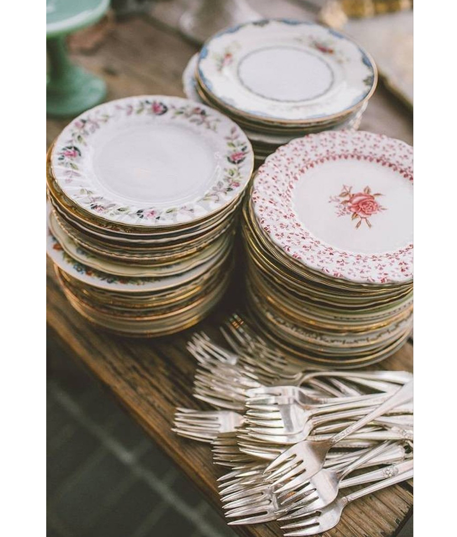 Granny Chic Wedding - Antique Floral Dishes