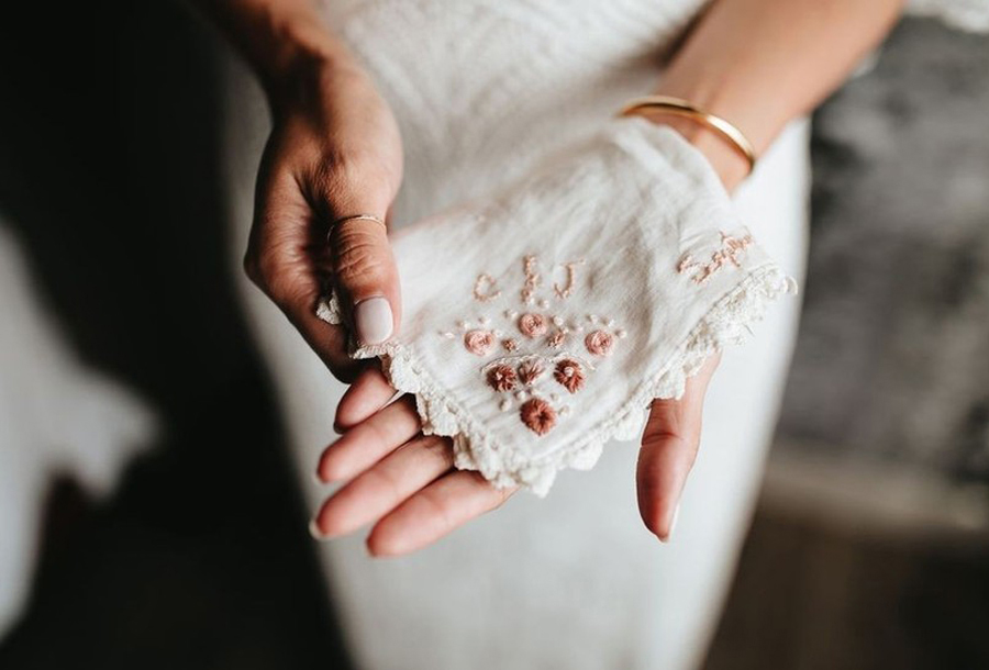 Granny Chic Wedding - Woman Holding Antique Handkerchief