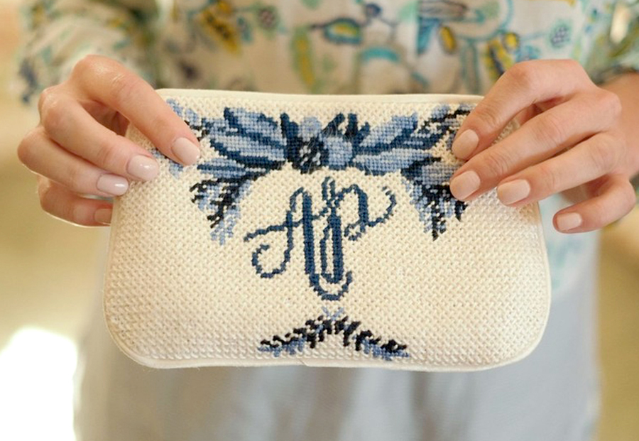 Granny Chic Wedding - Cross Stitch Clutch With Monogram